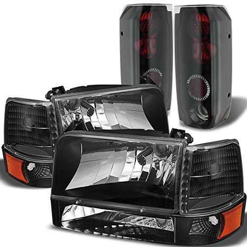 Xtune for 1992-1996 Ford F150/F250, Bronco Black Headlights Set + Mystery Black Tail Lights 1993 1994 1995 ()