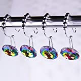 Adwaita Rustproof Stainless Steel Decorative Shower Curtain Hooks Double Glide Shower Curtain Rings With Acrylic Crystal Rhinestones - To Hang Curtain and Liner At Same Time - Set of 12 (Multi)