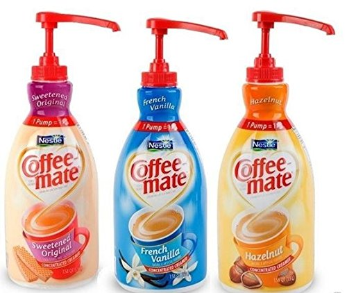Coffee Mate Liquid Concentrate 1.5 Liter Pump Bottle - Variety 3 Pack (Original Sweetened Cream, French Vanilla & (1.5l Pump Bottle)
