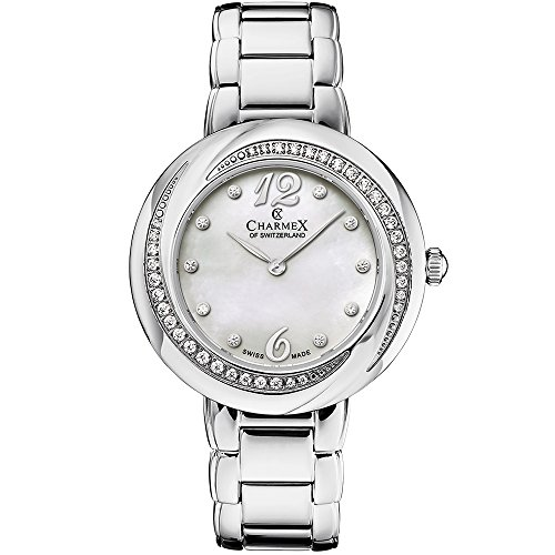 Charmex Women's Deauville 34mm Steel Bracelet & Case Sapphire Crystal Quartz MOP Dial Analog Watch 6375
