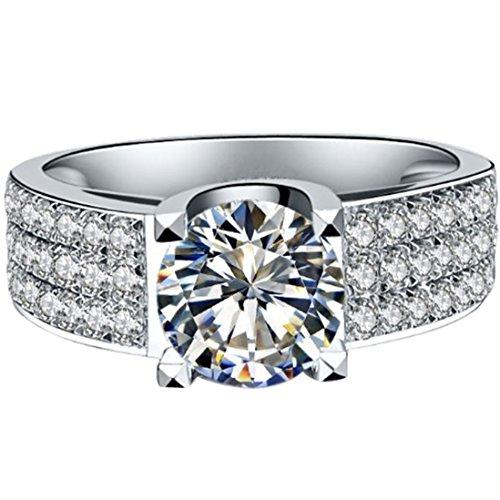 THREE MAN Positive! 1CT Genuine C&C Brand 18KT White Gold Moissanite Ring Engagement Jewelry for Women -