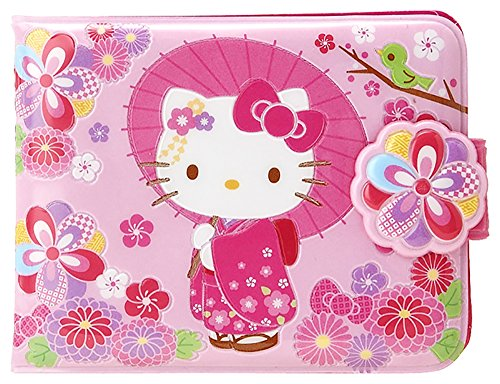Sanrio Hello Kitty Vinyl Wallet: Floral (Kimono Bag Purse)