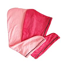 Meccion 2 Pack Hair Drying Towel Wrap Turban Microfiber Drying Bath Shower Head Towel with Buttons, Quick Magic Dryer, Dry Hair Hat, Wrapped Bath Cap (Magenta & Pink)
