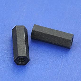 Electronics-Salon 10pcs 12mm//0.47 Black Nylon M2 Threaded Hex Female-Female Standoff Spacer.