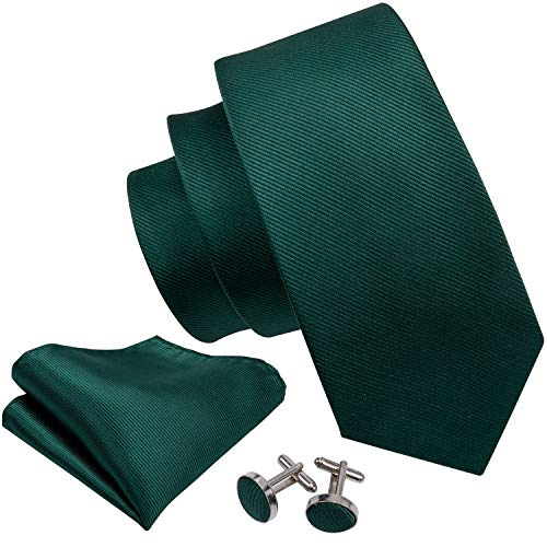 (Barry.Wang Emerald Green Necktie Set Solid Handkerchief Cufflinks Silk Ties for)