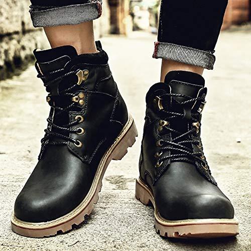 Sintética Alto Y Hombre Yixiny Color 1792 Negro Lab Zapatos De piel Marrón Para Tacón Abc Hfaxqw