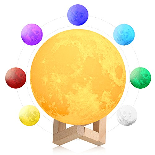 3D Space Moon Lamp 5.9in with Stand, 3D Printing Moon Night Light with Stand Touch Control & Color Changing Decorative Light for Kids Room, Bedroom 5.9 in by Kingpeony
