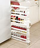 White Wooden Spice Seasoning Can Rack Slim Rolling Cart Space Saver Organizer Shelf Storage Kitchen Organization Fits Between Cabinets and Refrigerator by KNL Store