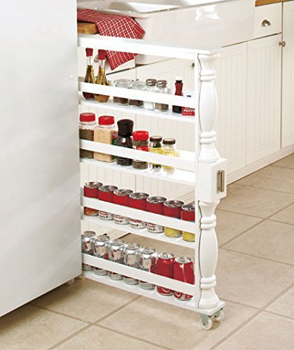 Refrigerator Side By Side Cabinet - White Wooden Spice Seasoning Can Rack Slim Rolling Cart Space Saver Organizer Shelf Storage Kitchen Organization Fits Between Cabinets and Refrigerator by KNL Store