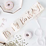 Ginger Ray Rose Gold Foiled Pink It's My Birthday Party Sash - Pick And Mix