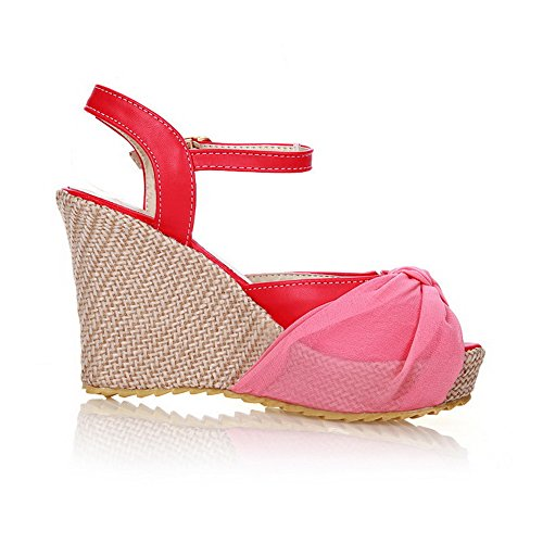 AmoonyFashion Womens Peep Toe High-Heels Soft Material Solid Buckle Platforms & Wedges Red 8T5gJ