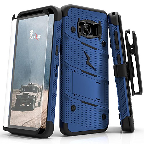 (Samsung Galaxy S8 Case, Zizo [Bolt Series] w/ [Galaxy S8 Screen Protector] Kickstand [12 ft. Military Grade Drop Tested] Holster Belt Clip - Galaxy S8 Blue/Black )