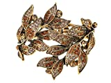 Alilang Golden Tone Peach Topaz Colored Rhinestones Leaf Cuff Wrap Bracelet