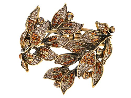 Cuff Leaf Bracelet (Alilang Golden Tone Peach Topaz Colored Rhinestones Leaf Cuff Wrap Bracelet)