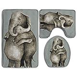 Sweet Embrace Elephants 3 Piece Bathroom Mats Set Flannel Non-Slip Bathroom Rugs Contour Mat Toilet Cover