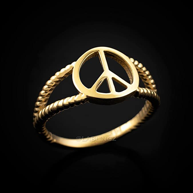 Amazon 14k Yellow Gold Peace Sign Dainty Ring Jewelry