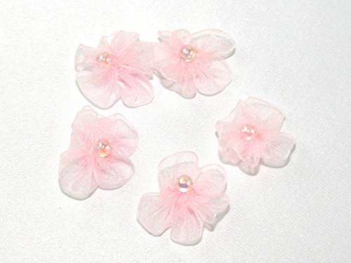 Minerva Crafts Sheer Organza Ribbon Ruched Flowers with Bead Pale Pink - per pack of 100