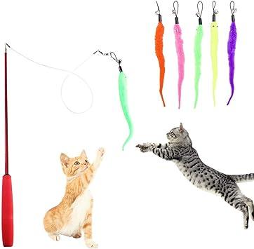 HO2NLE Caña Gatos Varilla 5Pcs Juguetes para Gatos Interactivos ...