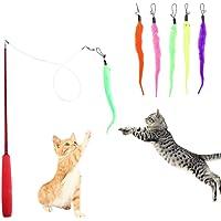 HO2NLE Katzenspielzeug Interaktives Katze Spielzeug Einziehbare Katzenangel mit 5 Stück Ersatz Wurm Spielzeug Wurm Teaser und Exerciser für Katze und Haustier
