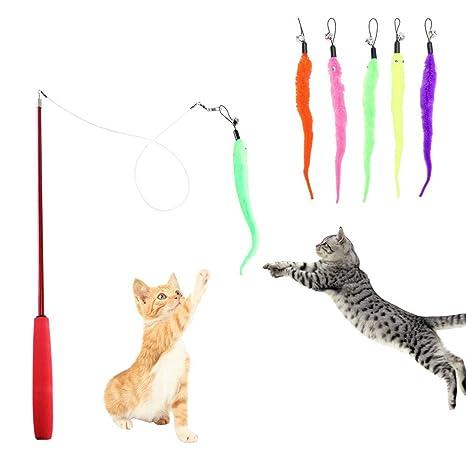 HO2NLE 5Pcs Juguetes para Gatos Caña para Gatos Ajustable Juguetes Gatos Plumas con Varilla Telescópica Durable Cat Varita Cat Toy Wand para Regalo de ...