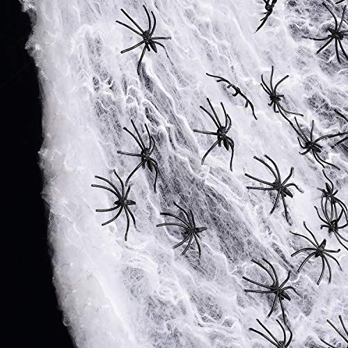 EXQUISITHEART 1000sqft Fake Spider Web Halloween Decorations (60