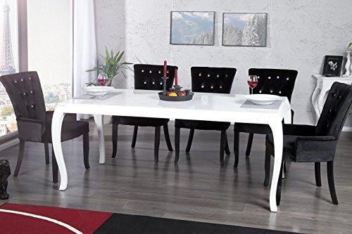 Moderner Barock Esstisch Weiß Hochglanz 180 cm von Casa Padrino - Esszimmer Tisch