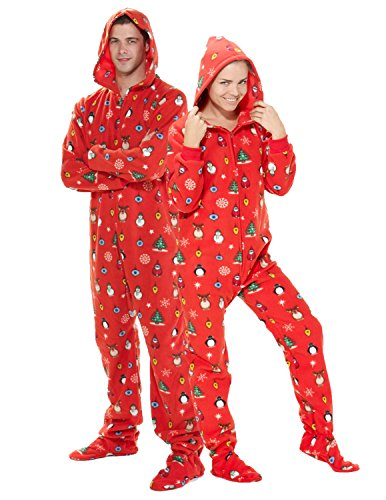 Footed Pajamas - Holly Jolly Christmas Adult Hoodie Onesie - Small Plus/Wide -
