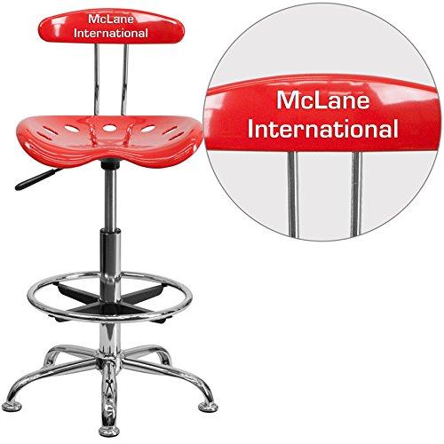 Flash Furniture Personalized Vibrant Tomato and Chrome Drafting Stool with Tractor Seat, Cherry