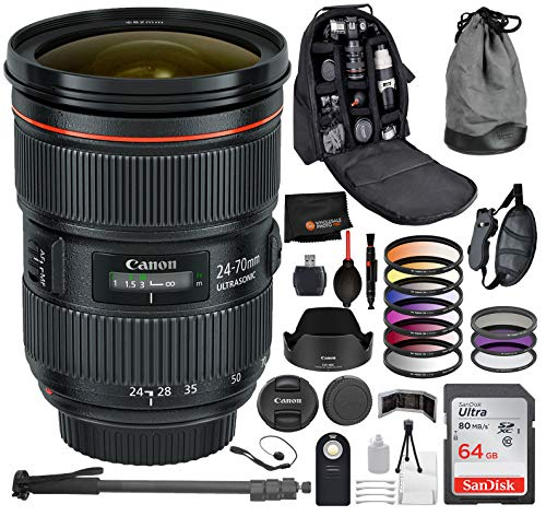 Canon EF 24-70mm f/2.8L II USM Lens with Professional Bundle Package Deal Kit for EOS 7D Mark II, 6D Mark II, 5D Mark IV, 5D S R, 5D S, 5D Mark III, 80D, 70D, 77D, T5, T6, T6s, T7i, SL2