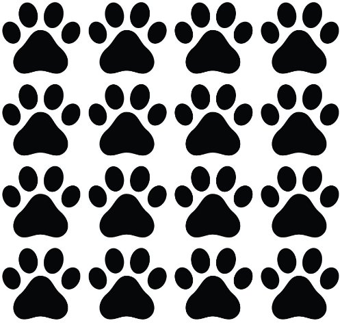 Dog Paw Prints - Matte Finish Vinyl Decal Sticker for Walls, Electronics (Color Variations Available) (BLACK, 16)