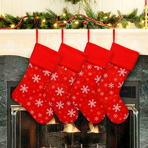 (Ivenf Christmas Stockings, 4 Pack 18 Inch Large Red Plush Fleece Snowflake Stockings, for Family Holiday Xmas Party Decorations)
