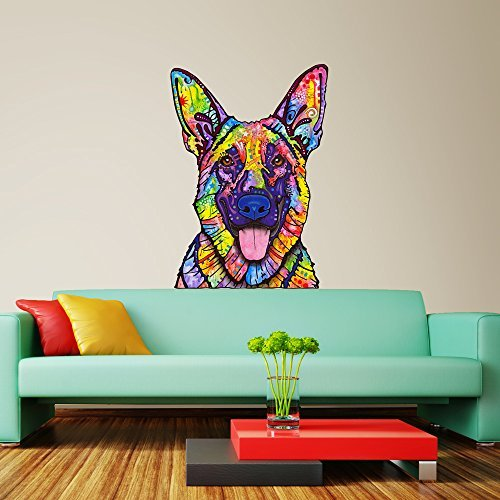 My Wonderful Walls Animal Pop Art by Dean Russo Dogs Never Lie German Shepherd Wall Decal Cut Out, 14.7-Inch by 21-Inch, (Retro 80s Wallpaper)