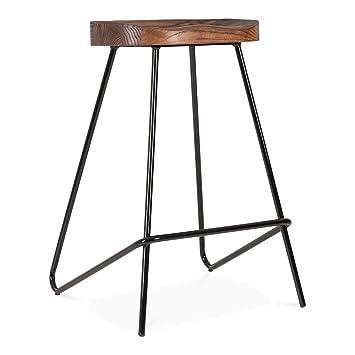 Cult Furniture Norse Metal Bar Stool Solid Elm Wood Seat Black