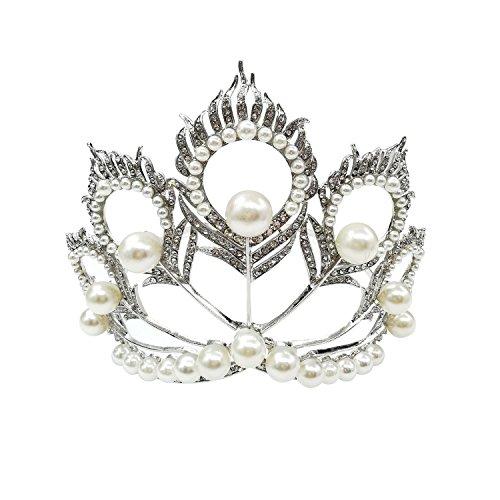Crystal Bridal Wedding Crown Tiara, Rhinestone and Imitation Pearls Beads Headpiece Women Princess Wedding Jewelry