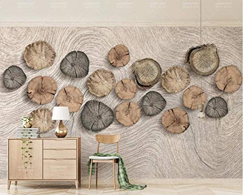 (Jiahuade-3D Wallpaper Dining Room Decoration Painting Wood Grain Retro Tv Background Wall-350Cmx245Cm)