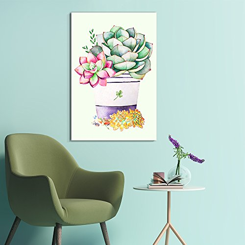 Succulent Plants Series Watercolor Style Colorful Plants in a Pot '