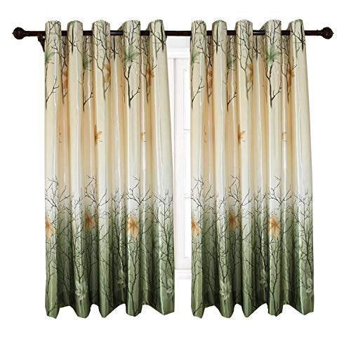 Anady Top Green Leaf Short Curtains Maple Tree Drapes for Living Room Bedroom 42W 63L (Living Curtains Short Room For)