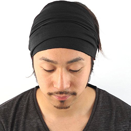charm-mens-womens-elastico-bandana-headband-japones-cabello-largo-dreads-head-wrap-negro