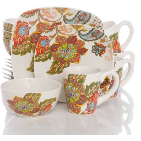Floral Spray 16-Piece Square Dinnerware Set by Better Homes
