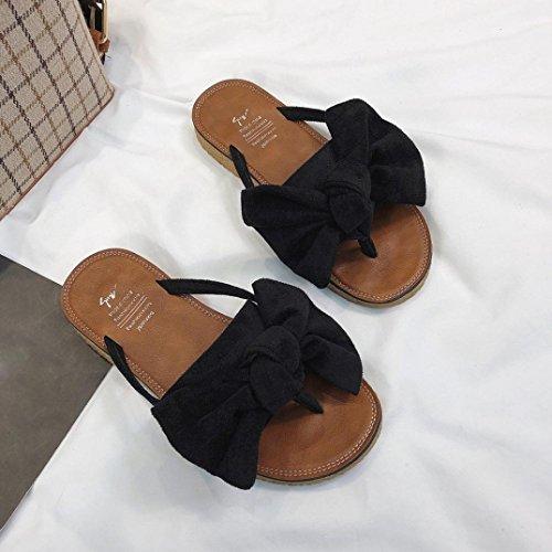 Sandalen Schwarz Ferse Sandalen Bowknot Damen Damen Fashion Color Slipper Sommer Strand Fliege Schuhe Solid Flachen Flache VJGOAL qfn5CC