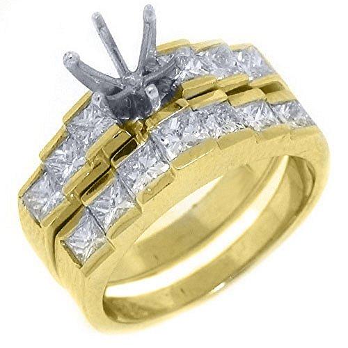 14k Yellow Gold Princess Diamond Engagement Ring Semi Mount Set 1.70 Carats Channel Set Semi Mount Ring