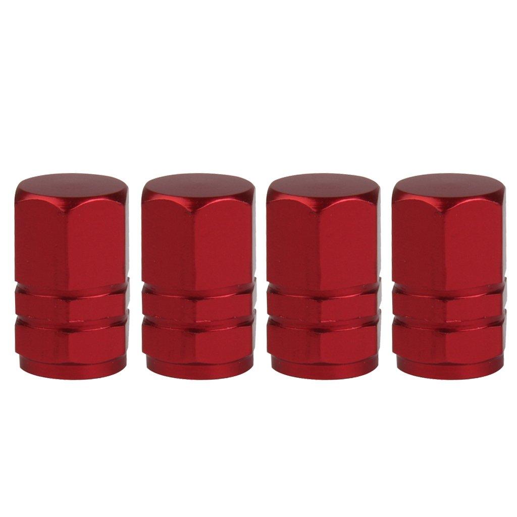 4pcs Tapas Cubierta Válvula Neumático para Rueda Llanta Motocicleta Coche Forma Hexagonal (rojo) Générique