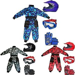 Leopard LEO-X15 Negro Casco de Motocross para Niños (L 53-54cm) + Gafas + Guantes (L 7cm) + Camo Traje de Motocross para Niños - XXL (12-13 Años)