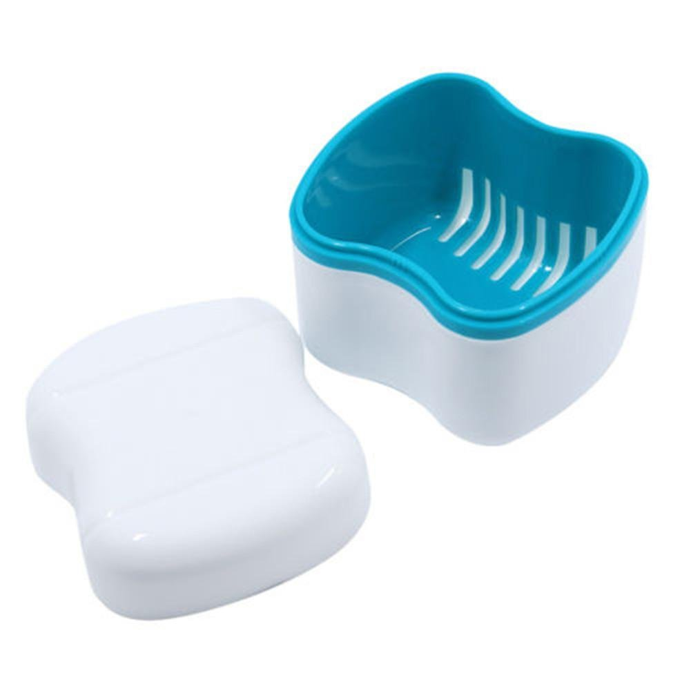 f/ácil de Abrir Caja de ba/ño con Cesta de Red para Limpieza de contenedor WXGY Caja para dentadura con colador de pl/ástico para Dientes Falsos almacenar y recuperar