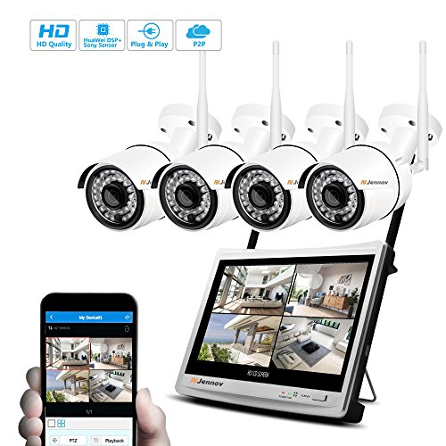"""Jennov Wireless Security Camera System, 4 Channel CCTV Wireless Security IP Camera System With 1080P 12"""" LCD HD Monitor NVR 960P Bullet Wifi Cameras Home Outdoor and Indoor Video Surveillance Kit"""