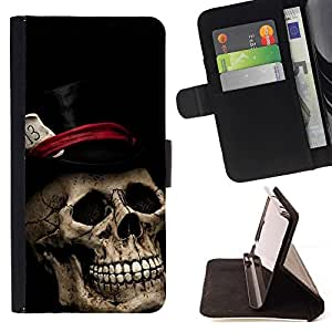 Momo Phone Case / Flip Funda de Cuero Case Cover - Sombrero de Copa Poker Tarjetas de Halloween Música metal - Huawei Ascend P8 (Not for P8 Lite)