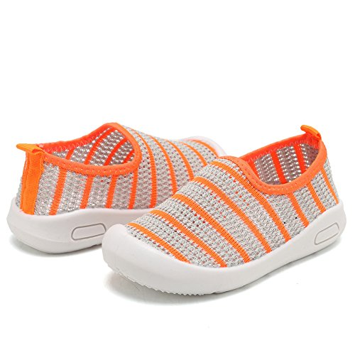 CIOR Kids Slip-on Casual Mesh Sneakers Aqua Water Breathable Shoes For Running Pool Beach (Toddler/Little Kid) SC1588 Grey 26 4