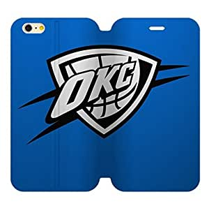 Fitted 5.5 inch Screen iPhone 6 Plus Diary Leather Case Oklahoma City Thunder Design Background-by Allthingsbasketball