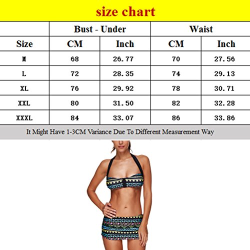 Zhhlinyuan Women's Vintage Printing natación Bikini High Waisted Swimwear LS1395 Multicolor