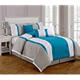 Embroidered 7 Piece Bedding Turquoise Blue / Grey / White QUEEN Comforter Set with accent pillows